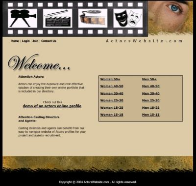 Web Site Graphics I've done in 2004 for: http://actorswebsite.com